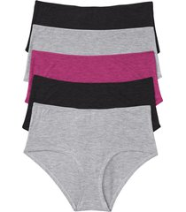 culotte a vita alta in  lenzing™ ecovero™ (pacco da 5) (grigio) - bpc bonprix collection