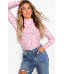 floral high neck long sleeve top, rose