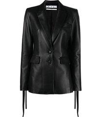 off-white black leather blazer