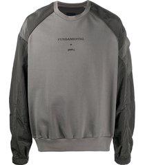 juun.j fundamental satin-panel sweatshirt - grey