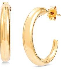 polished tapered hoop earrings in 14k gold