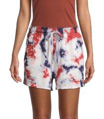 c & c california women's tie-dye drawstring shorts - white multi - size l