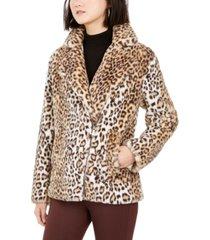 bcbgeneration faux-fur leopard-print coat