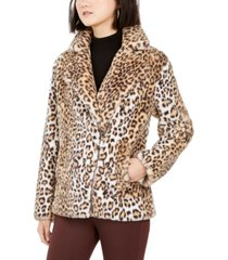 bcbgeneration faux-fur leopard-print coat