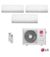 ar condicionado multi split inverter lg com 3 x 11.900 btus, quente e frio, turbo, branco - a3uw24gfa2