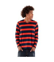 camiseta konciny decote v azul marinho/laranja
