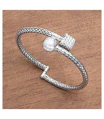 sterling silver bangle bracelet, 'simple woven bali' (indonesia)
