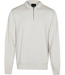 river island mens grey long sleeve zip detail sweatshirt
