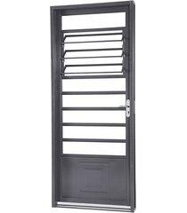porta de aço de abrir belfort com almofada e báscula 1 folha abertura esquerda 217x87x6,5 - sasazaki - sasazaki