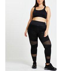 river island womens plus black ri active mesh panelled leggings