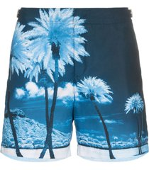 orlebar brown bulldog palm tree print swim shorts - blue