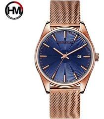 reloj de malla de acero inoxidable para hombre-azul