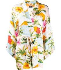 mc2 saint barth floral-print belted kimono - white
