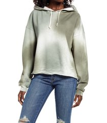 women's treasure & bond tie dye hooded sweatshirt, size x-small - green