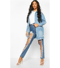 distressed longline jean jacket, mid blue