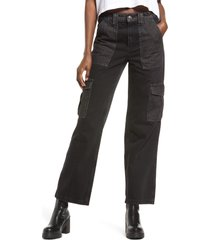 bdg urban outfitters patchwork high waist straight leg jeans, size 30 x 32 in black at nordstrom