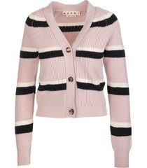 marni woman pink wool cardigan with white and black stripes