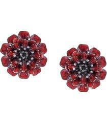 marchesa poppy flower earrings - red