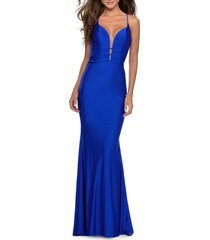 women's la femme triple twist detail satin jersey trumpet gown, size 16 - blue