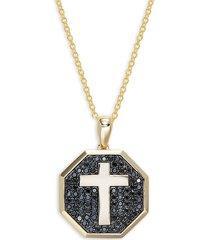 effy men's 14k yellow gold & black diamond cross pendant necklace