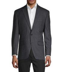 lauren ralph lauren men's mini grid-print standard-fit blazer - grey - size 44 r