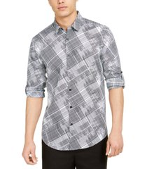 alfani men's classic-fit crosshatch-print shirt, created for macy's