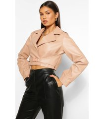 buckle detail faux leather jacket, nude