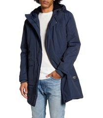 men's wesc hooded parka, size large - blue