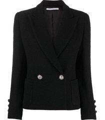 alessandra rich double-breasted slim-fit blazer - black