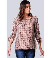 blouse alba moda offwhite::oranje::marine