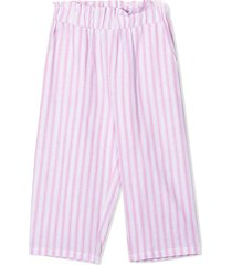 douuod white and pink cotton-blend trousers