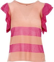 manila grace designer t-shirts & tops, salmon pink lurex ruffle women's t-shirt