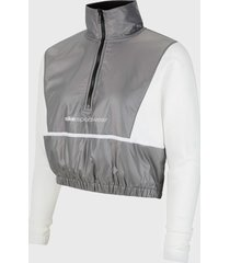 chaqueta nike w nsw qz archive rmx gris - calce regular