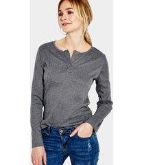 blusa de diseño casual gris oscuro con mangas largas