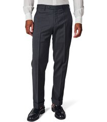 men's zanella parker flat front solid stretch wool trousers, size 40r - grey