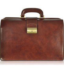 forzieri designer travel bags, dark brown italian leather buckled medium doctor bag