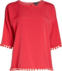 french connection women's liache pom-pom top - azalea - size xs