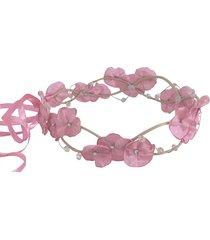 headband fuxicos & frescuras coroa de fada dupla rosada