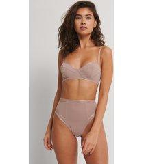 na-kd lingerie trosa i mesh med hög midja - pink