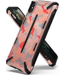 estuche protector ringke dual x iphone xs max - camuflado rosado