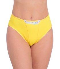 tangão vip lingerie cotton com bordado inglês amarelo