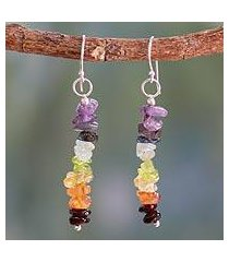 peridot and carnelian cluster earrings, 'color mantra' (india)