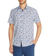 tallia men's slim fit paisley 4-way stretch short sleeve button-down shirt