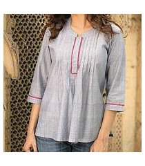cotton blouse, 'blue cloud' (india)