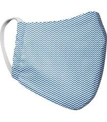 tapabocas mascara para hombre doble capa estampado zic zac tela antifluido - azul