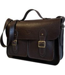 bolsa line store leather satchel pockets grande couro marrom escuro