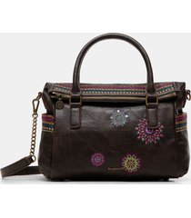 embroidered briefcase bag - brown - u