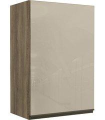 armário aéreo cozinha 60 cm maxxi 1 porta com vidro nogal - kappesberg