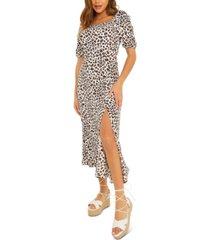 quiz animal-print ruched-sleeve dress
