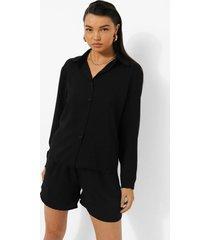 oversized overhemd en shorts set met textuur, black